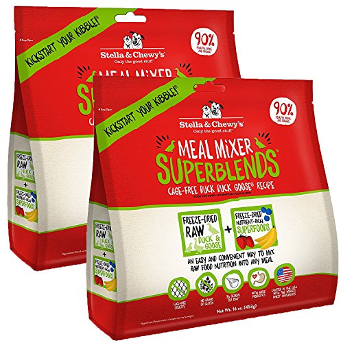 Stella & Chewy's Freeze-Dried Raw Meal Mixer SuperBlends Cage-Free Duck Duck Goose Recipe Grain-Free Dog Food Topper, 32 oz bag - Freeze Dried Recipes