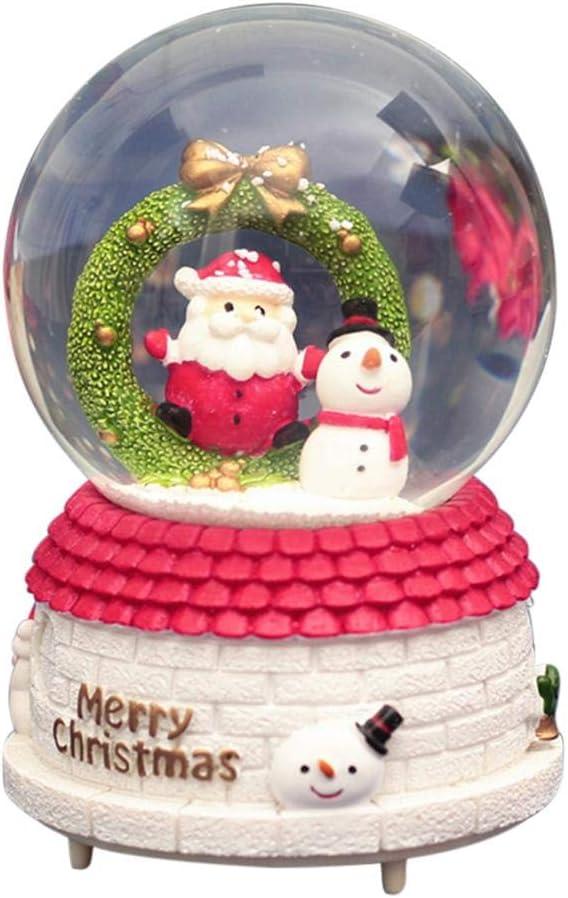 atteryhui Christmas Lighted Snow Globe,Christmas Wreath Music Box Rotating Crystal Ball Music Box for Family Friends Children Christmas Gift for/Sale