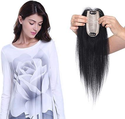 Elailite Protesis Capilares Frontal Pelo Natural Hair Topper Mujer Clip Toupee Flequillo Encaje 6cm*13cm Postizo Cabello Humano Largo 25cm Pesa 27 Gramos #01 Negro Oscuro: Amazon.es: Belleza