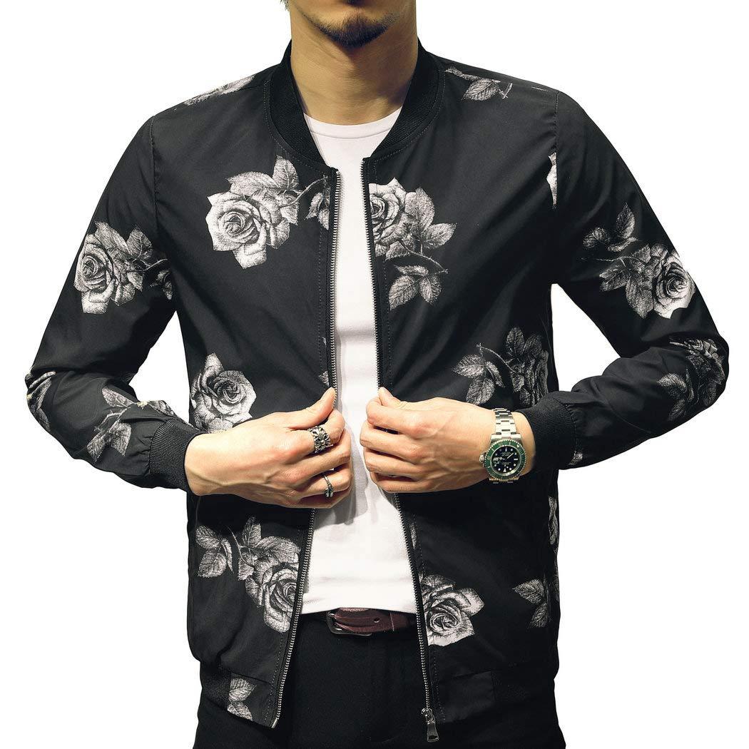 Mens Casual Lightweight Jacket Printed Pattern Slim Fit Bomber Jacket Varsity Coat by LOGEEYAR