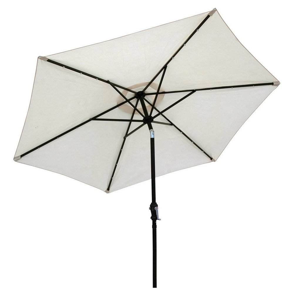 Sun-Ray 9 Solar Lighted Patio Umbrella, Buff Beige
