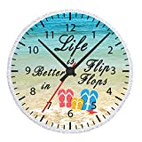 Enjoy Summer Holiday Time Tropical Hawaii Beach Life Is Better In Flip Flops Timetable Microfiber Soft Large Beach Towel Round Roundie Beach Towel Throw Blanket Picnic Tapestry Table Cover 60 Inches