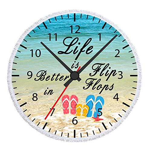 Enjoy Summer Holiday Time Tropical Hawaii Beach Life Is Better In Flip Flops Timetable Microfiber Soft Large Beach Towel Round Roundie Beach Towel Throw Blanket Picnic Tapestry Table Cover 60 Inches by NIDITW