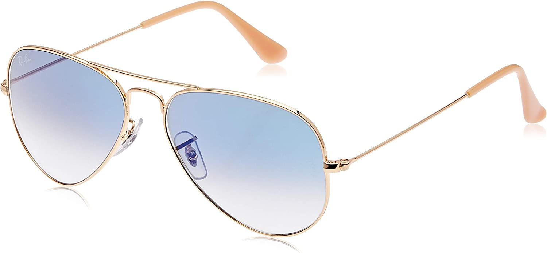 RAY-BAN Aviator gafas de sol, Dorado (Marco: Dorado, Lente: Dark Blu 001/3F), 58 para Hombre