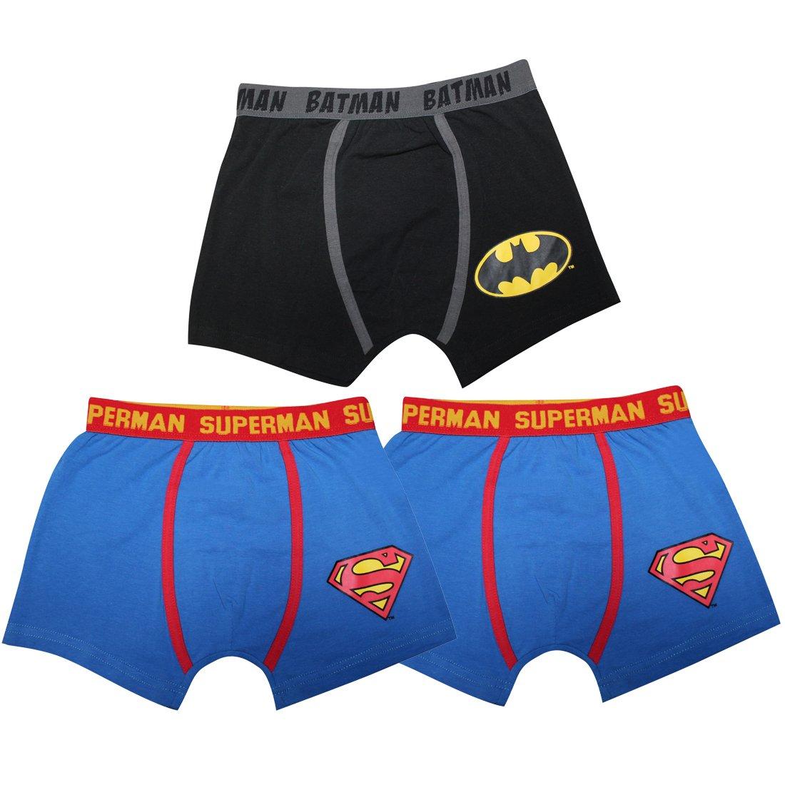(Pack of 3) Little Boys SUPERMAN & BATMAN Finest Stretch Boxer Shorts-Multicolor 3-4 Multicolor