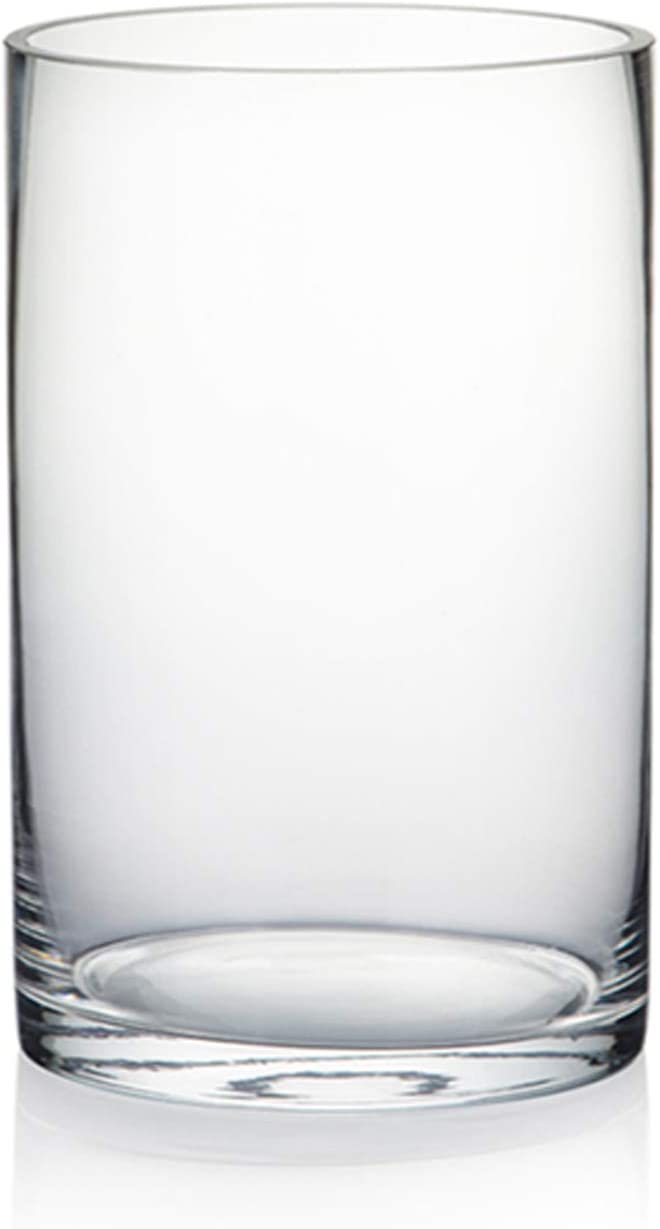 """WGV Cylinder Vase, Diameter 5"""", Height 8"""", Clear Glass Floral Planter Container, Floating Candle Holder for Wedding Party Event Home Office Decor, 1 Piece"""