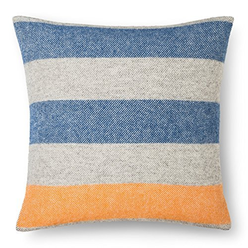 Faribault Woolen Mill Company Wool Pillow Cover with Fringe Edge - Stripe - Heather Grey/Blue