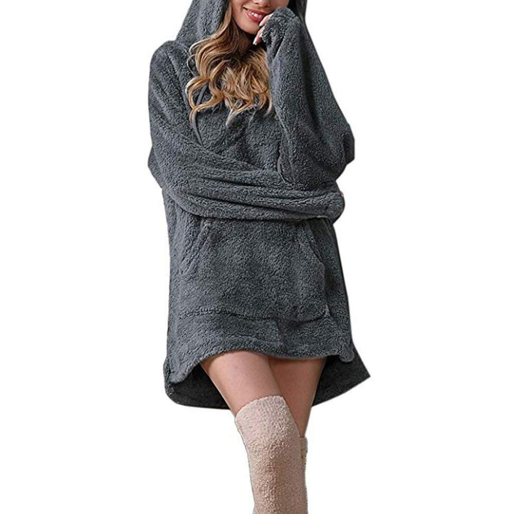 SADUORHAPPY Women's Pullover Hooded Sweatshirt Plus Velvet Long Sleeve T Shirt Solid Color Long Tunic Top Coat with Pockets Gray by SADUORHAPPY Sweatshirts