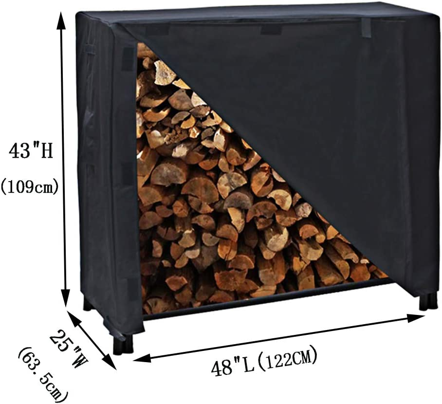 Black 4FT TheElves Firewood Rack Cover Waterproof Log Rack Cover Heavy Duty 600D Outdoor Firewood Storage Rack Cover with Weather-Resistant PVC