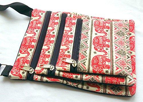 Red tre tasca passaporto borsa a tracolla con elefantino design