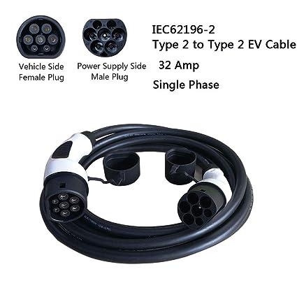 Vogvigo Tipo 2 Caja de Carga de Cable de Cargador de EV portátil EU ev Estación de Carga Coche eléctrico EVSE (2-2 32A 5m Monofásica)