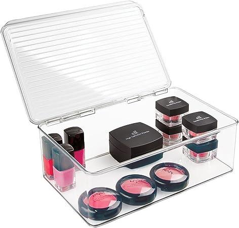mDesign Organizador de Maquillaje – Caja de almacenaje con Tapa - Ideal para cosméticos y Productos de Belleza - Transparente: Amazon.es: Hogar