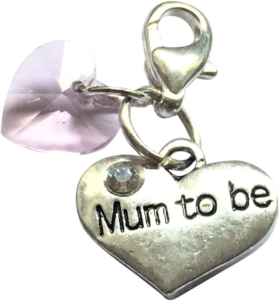 Libbys Market Place Mum To Be Wine Glass Charm on a Pink Gift Card