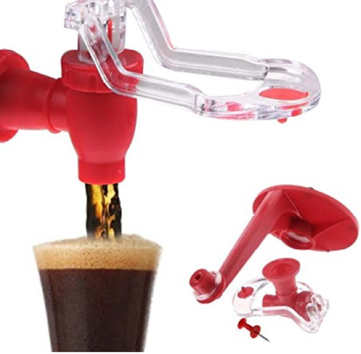 HP Home@ Fizz Saver Refrigerator Wondeful Drink Saver Dispenser Linkspe Home Bar Coke Fizzy Soda Soft Drinking Faucet Red Creative 1 pcs