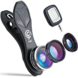 3 in 1 Cell Phone Camera Lens Kit with Flashlight, 198° Fisheye Lens,15X Macro Lens,0.63X Wide Angle Lens, For iPhone, Galaxy, iPad, Pixel and Most Smartphone By G&C