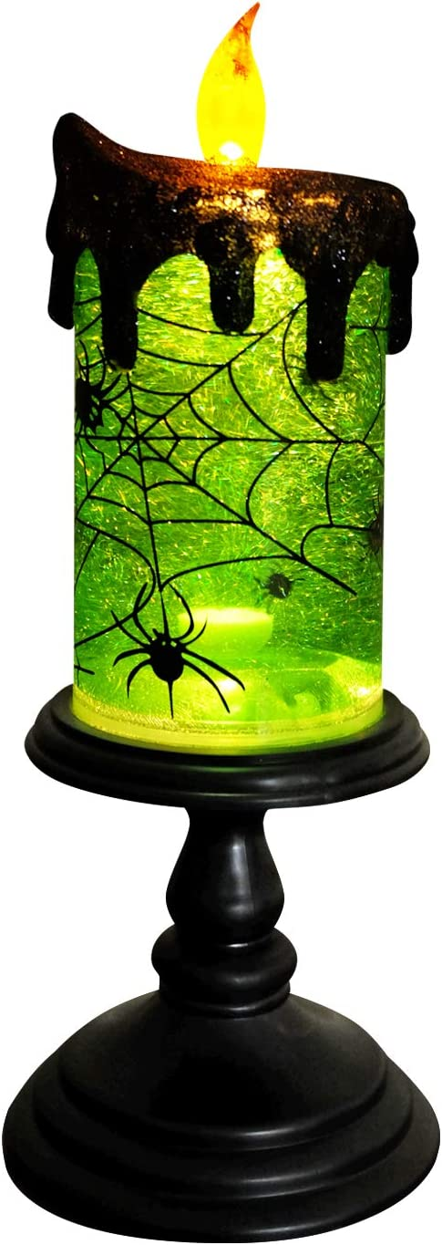 Eldnacele Halloween Snow Globe Candles Lighted Lamp, Battery Operated Spooky Spinning Water Glittering Tornado Candles Flameless Candles Table Centerpiece for Halloween Celebration Parties(Spider)