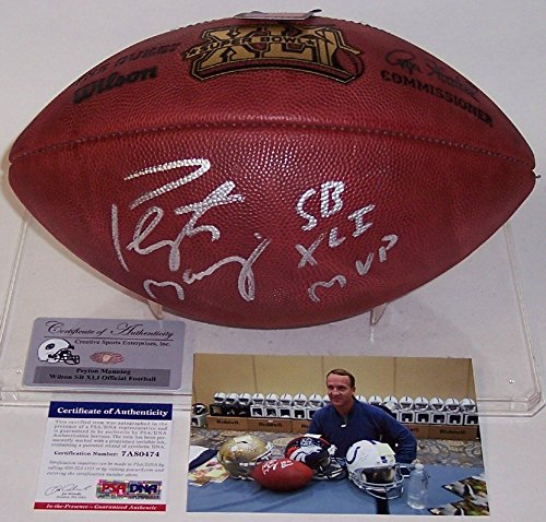 (Peyton Manning Autographed Hand Signed Super Bowl 41 XLI Official Wilson NFL Leather Football - with SB XLI MVP Inscription -)