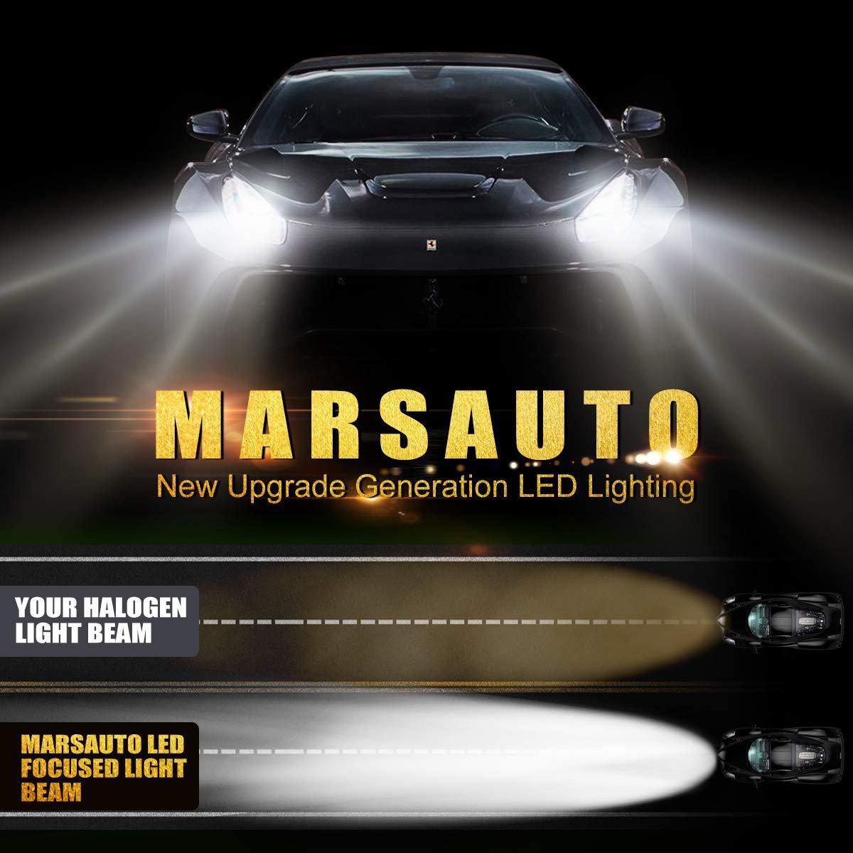 HB3 LED Headlight High Beam Fog Light Bulbs 6000K 8000LMs Cool White Halogen Replacement 2 Pack Marsauto 9005 LED Headlights