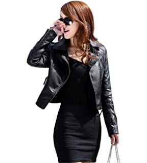 Auwer Womens Slim Moto Biker Zipper Short Coat Jacket Retro ...