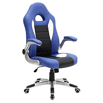 MORE4HOMES CRUZ SPORT RACING CAR OFFICE CHAIR, LEATHER, ADJUSTABLE ARMS GAMING DESK BUCKET (Gray): Amazon.es: Hogar