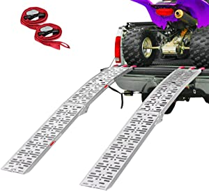 Clevr 7.5' Set of 2 Folding Arched Aluminum Truck Ramps for ATVs, UTVs, Motorcycles, Dirt Bikes, 4 Wheelers, Lawnmowers, 90