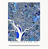 Washington DC Map Print, District of Columbia, US City Street Poster, Blue