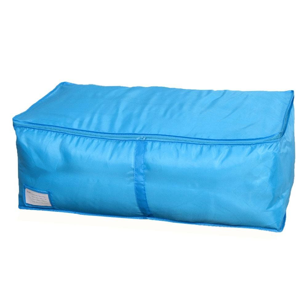 Demiawaking Clothes Storage Bag with Zips Breathable Moth Proof Oxford Duvet Bedding Pillow Blanket Storage Bag (S, Blue)