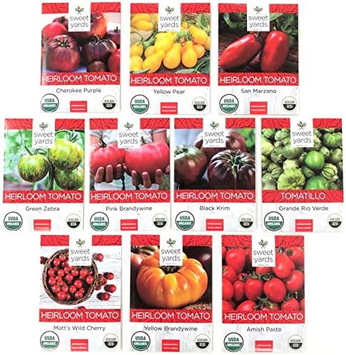 Heirloom Tomato Seeds Assortment - Ten Organic and Non-GMO Varieties: Brandywine, Cherokee Purple, Black Krim, Green Zebra, Amish Paste, Yellow Brandywine, Matt's Wild Cherry, Yellow Pear, San Marzano