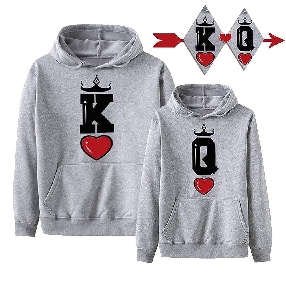 Minetom Pareja King & Queen Logo Sudaderas con Capucha Manga Larga Encapuchado Pullover para Unisexo Hombre Y Mujer Couple Hoodie: Amazon.es: Ropa y ...