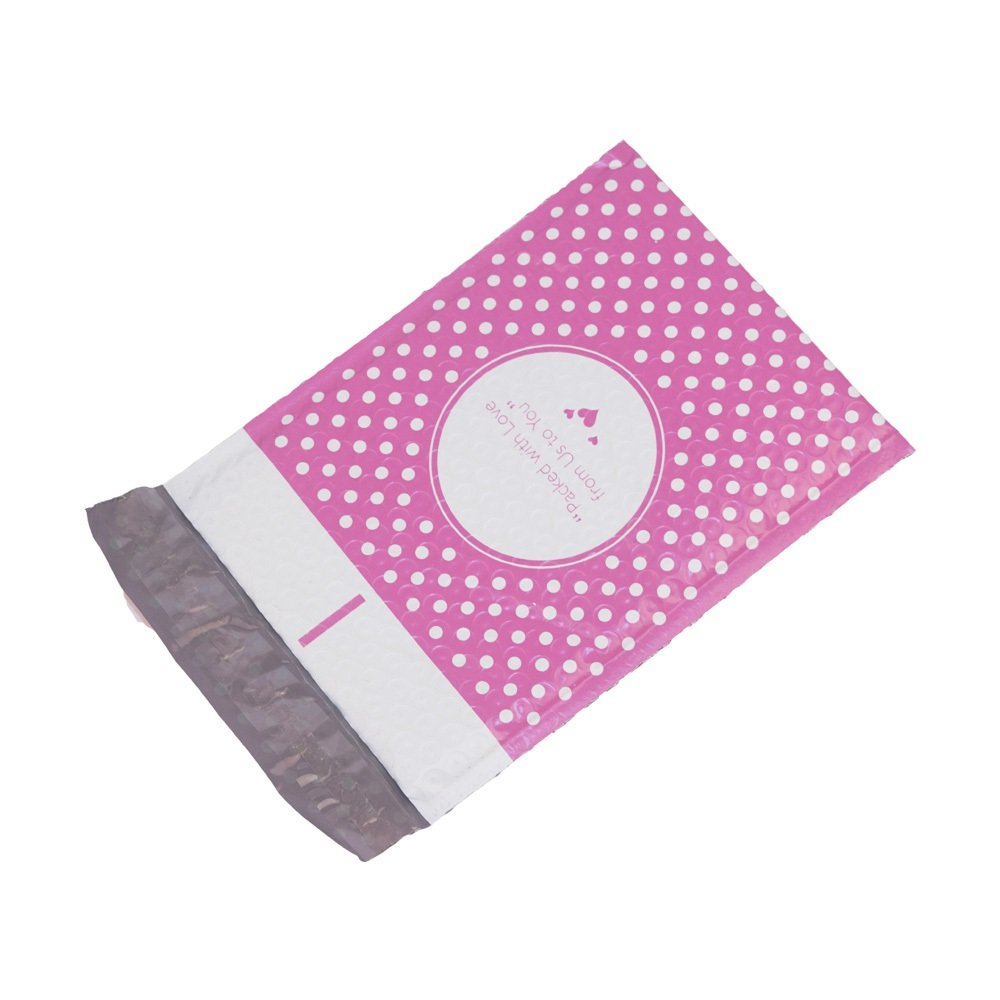 Packed with Love from Us to You 100 ProLine #0 Extra Wide 6.5x10 Pink Dot Poly Bubble Shipping Mailers 6.5 x 10 Padded Envelopes