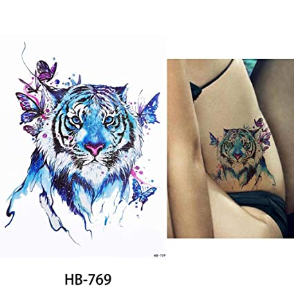 b12de3e66 Image Unavailable. Image not available for. Color: 1x DIY Body Art  Temporary Tattoo Colorful Animals ...
