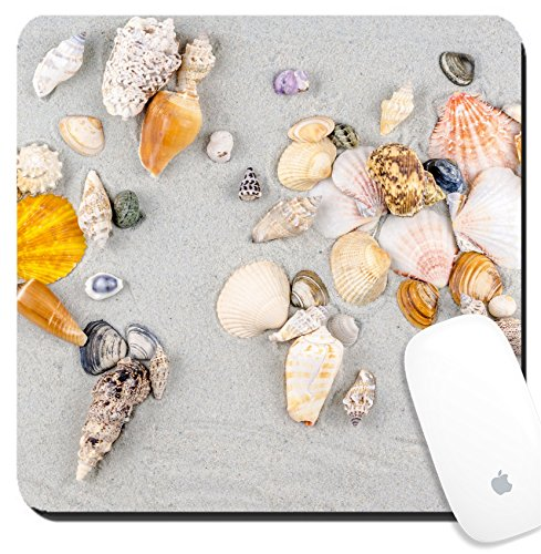 Luxlady Suqare Mousepad 8x8 Inch Mouse Pads/Mat design IMAGE ID: 33967749 map of the world made of shells on sand -