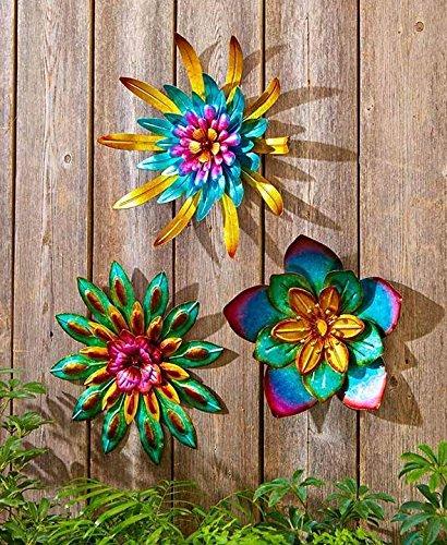 Amazon Com 3pcs Indoor Outdoor Metal Garden Wall Flower Sculpture