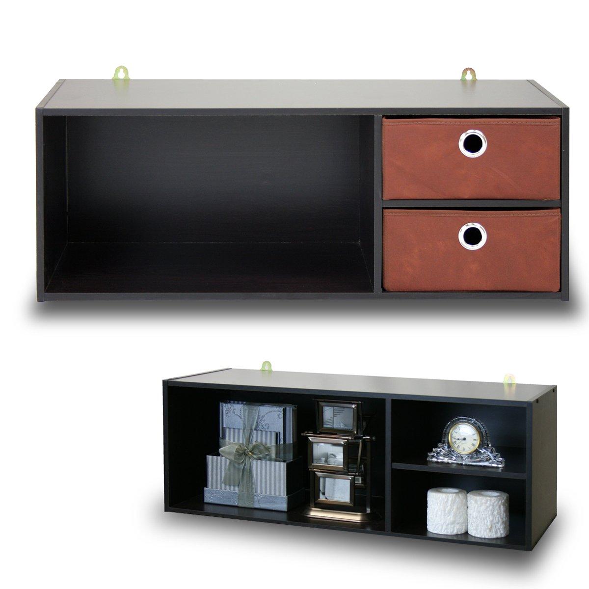 Furinno 10005EX/BR Wall-mounted Storage Shelf with 2 Bin Drawers, Espresso/Brown