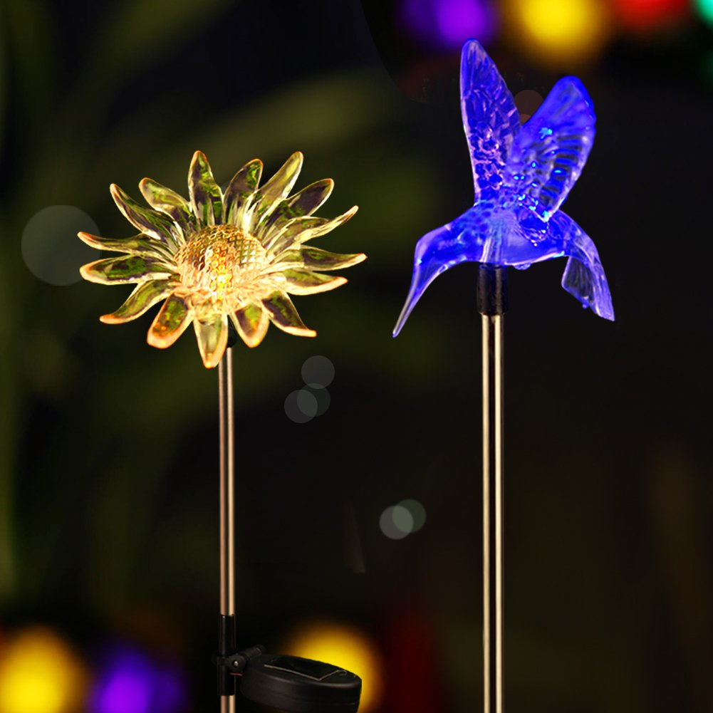 Bright Zeal [Set of 2] LED Color Changing Solar Stake Lights Outdoor - Solar Light LED Garden Decor Statues (Sunflower, Hummingbird) - Patio Lights LED Outdoor Multicolor Changing LED Lights