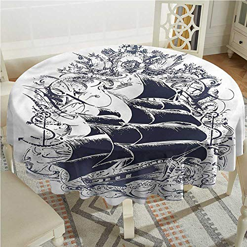 Tim1Beve Nautical Stain Resistant Round Tablecloth Medieval Boat in Waves Party Decorations Table Cover Cloth D54 INCH