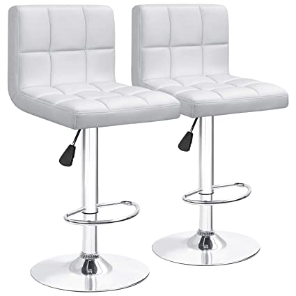 Miraculous Furniwell Bar Stools Barstools Modern Square Pu Leather Adjustable Barstool Armless Counter Height Swivel Bar Stool With Back Set Of 2 White Gmtry Best Dining Table And Chair Ideas Images Gmtryco