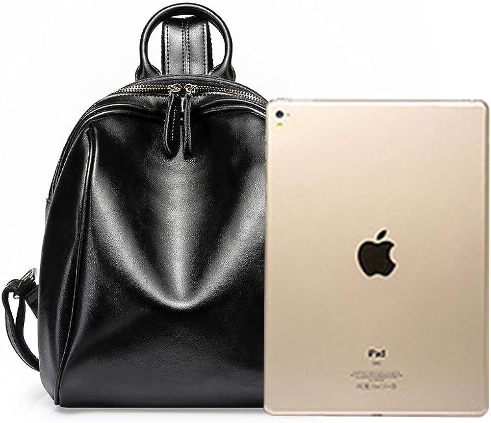 MuLier Womens Genuine Leather Backpack Ladies Casual Shoulder Bag School Bag for Girls