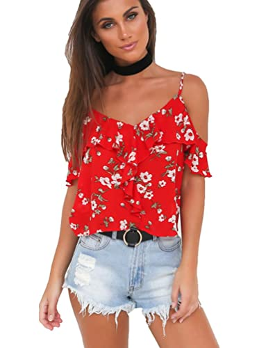 Sentao Mujeres Camisetas Sin Mangas Floral Impresión Chaleco Blusa Suelto Tops