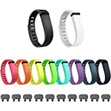 Henoda 10Pcs Replacement Bands with Clasps for Fitbit Flex Only /No Tracker (Large)
