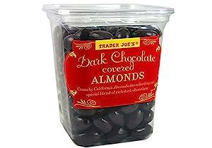 Trader Joe's Dark Chocolate Almonds Crunchy California Almonds Drenched in Rich Dark Chocolate no gluten or sodium