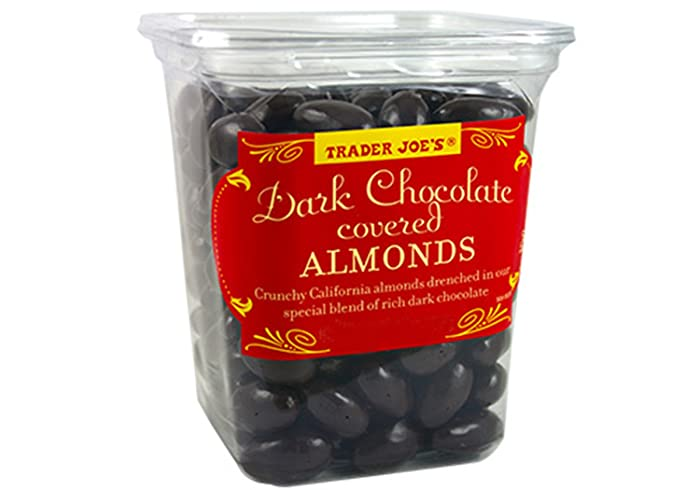 Trader Joe's Dark Chocolate Almonds Crunchy California Almonds Drenched in Rich Dark Chocolate no gluten or sodium