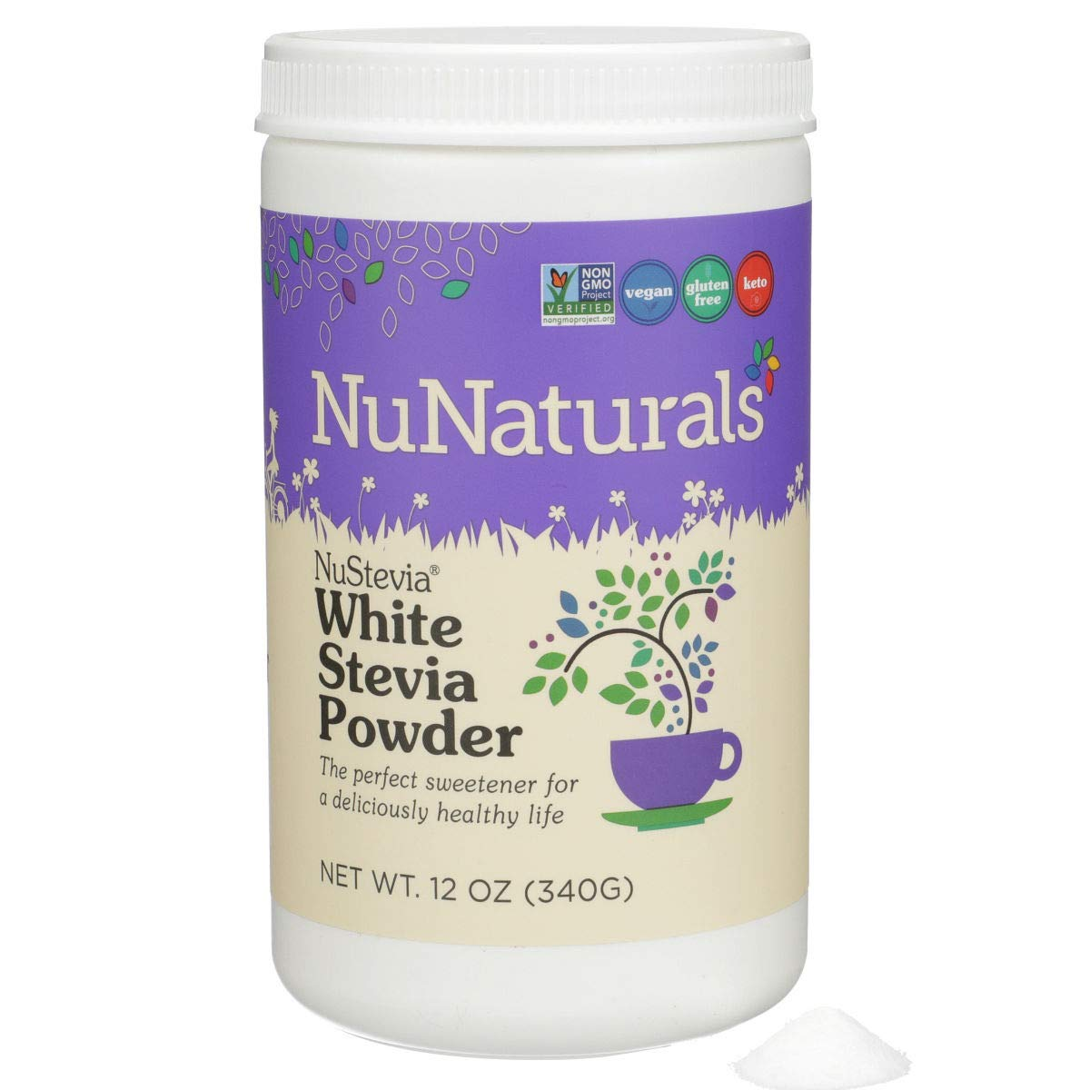 NuNaturals White Stevia Powder, All Purpose Natural Sweetener, Sugar Free, 12 Ounce