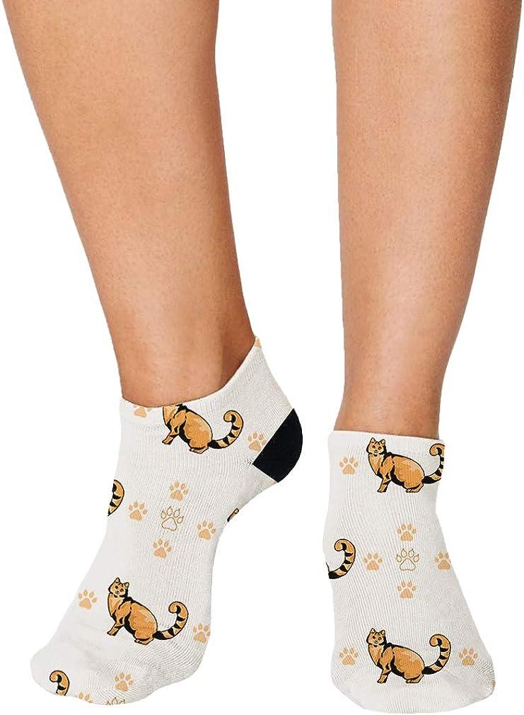 Laperm Cat Paws Pattern #1 Men-Women Adult Ankle Socks Crazy Novelty Socks