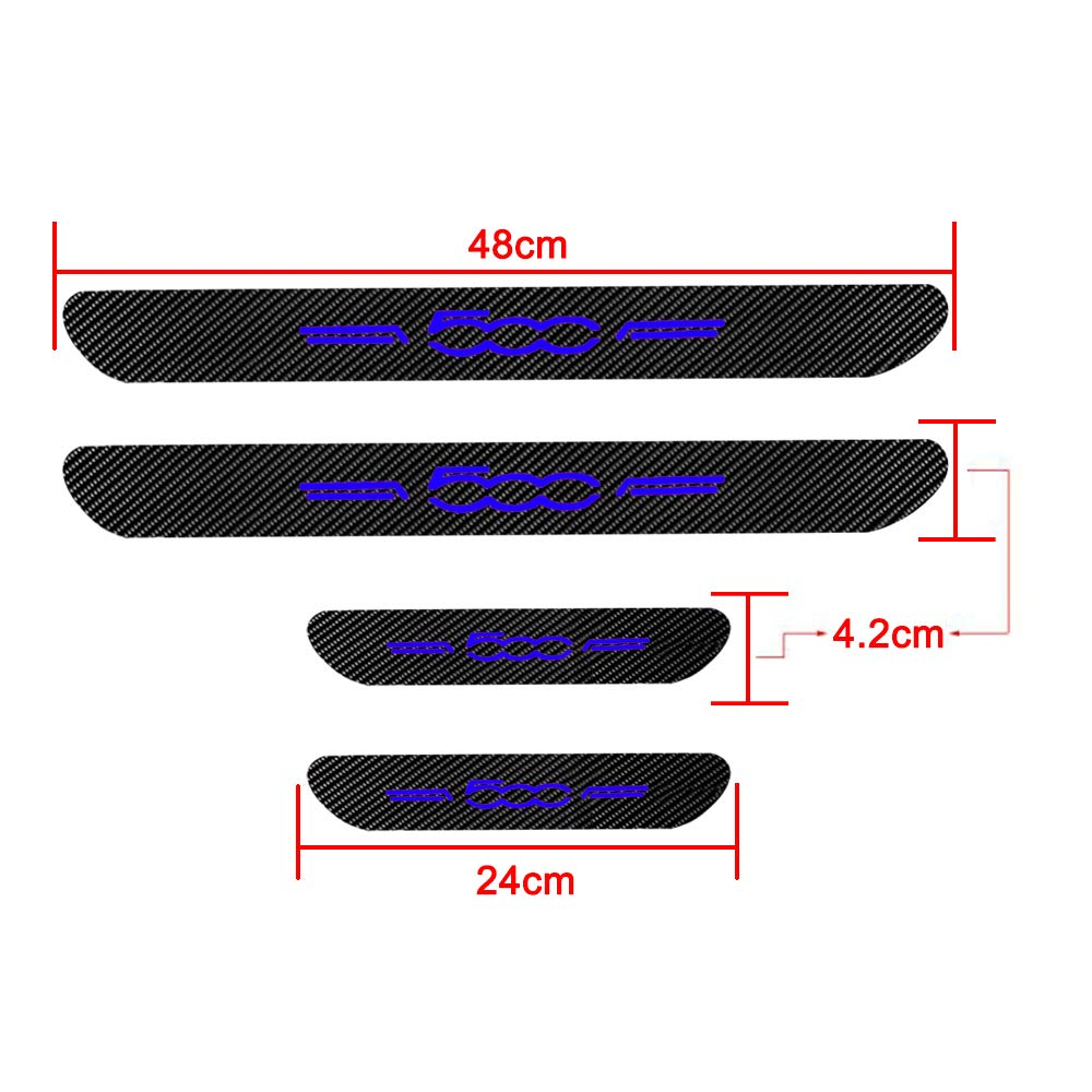 for Fiat 500 Car Door Edge Entry Threshold Protection Cover Carbon Fiber Scratch-Resistant Door Sticker 4PCS Red