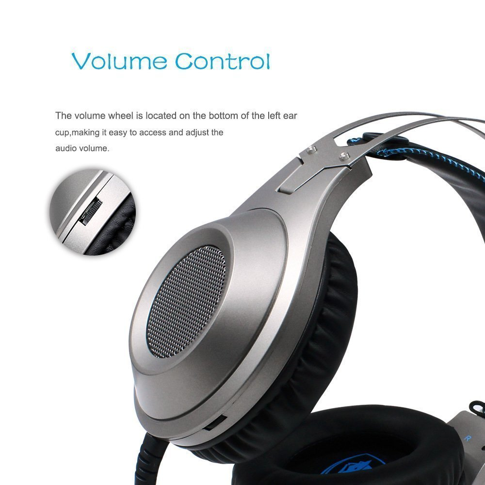 Gaming Headset, NUBWO Wired Gaming Headphones with Microphone and Volume Control for PC/Ps4/Xbox one 1 /Phone/Laptop (Silver) by NUBWO (Image #6)