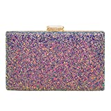 Women's Elegant Sparkling Glitter Evening Clutch Bags BlingEvening Handbag Purses For Wedding Prom Bride(Purple)