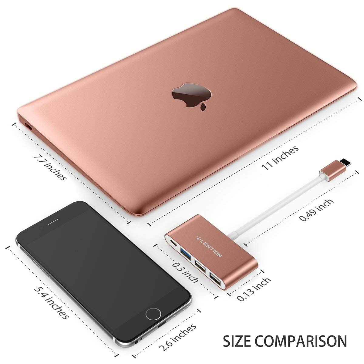 LENTION 4-in-1 USB-C Hub with Type C, USB 3.0, USB 2.0 Compatible MacBook Air 2018 2019, MacBook Pro 13/15 (Thunderbolt 3), ChromeBook, More, Multiport Charging & Connecting Adapter (Rose Gold) by LENTION