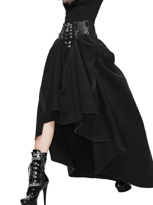 Gothic Punk レディース ロングスカート 系帯のマキシ 純色 スカート (L) B01N7KG0VU Small