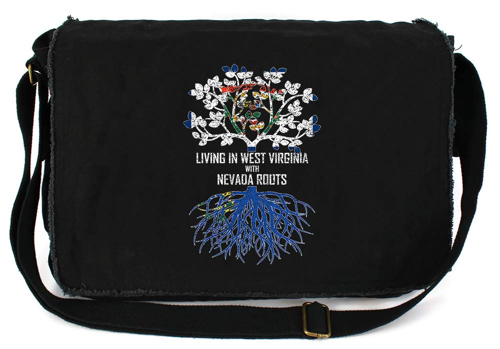 Tenacitee Living In West Virginia with Nevada Roots Grey Brushed Canvas Messenger Bag